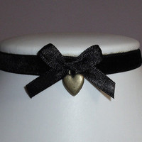 Heart Choker Velvet Bow Bronze Black Collar Emo Goth by JusDesigns