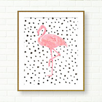 Flamingo Art Print, Pink Black, DIGITAL DOWNLOAD, Printable Art, Vanity Wall Decor, Office, Glam Art, Dalmatian Print, Modern Wall Decor