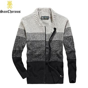 2019 Spring Autumn Casual Striped Men Sweaters Cotton Men V-Neck Cardigan Size M-3XL