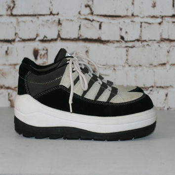 90s Mega Platform Sneakers Chunky Leather Grunge Hipster Festival Club Kid 6 4 37 Pastel Nu Goth Cyber Rave Black White Tennis Trainers