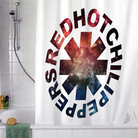 "Red Hot Chili Peppers Galaxy christmas gift, Custom Shower curtain, Sizes available size 36""w x 72""h 48""w x 72""h 60""w x 72""h 66""w x 72""h"