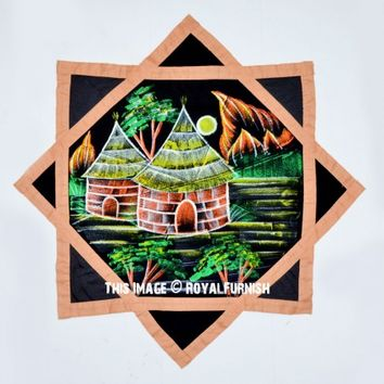 Black  Beige Hut Printed Dapo Star Cloth Finger Spinner Game on RoyalFurnish.com