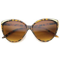 Women's Oversize Detailed Cat Eye Gradient Lens Sunglasses A011