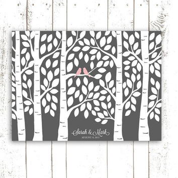 Guest Book Tree - Grey Wedding Guest Book Alternative Poster - Guestbook Tree for 150 Guests in Grey