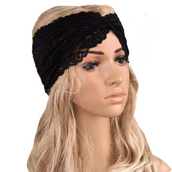 EU Style Flower Lace Headbands for Women Twist Turban Headband Soft Stretchy Head Wrap Hairbands Girls Hair Accessories Outdoor