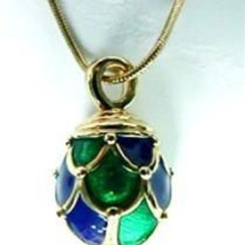 Faberge Drape Egg Blue Green Pendant Necklace