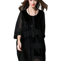 Women's Black Chiffon Velvet Dress Long Sleeve Casual Loose Fitting Plus Size Autumn Spring
