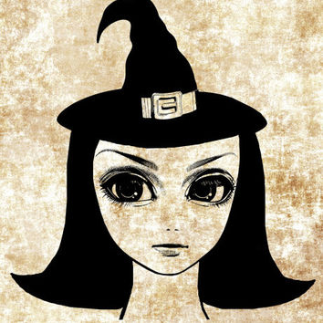 big eyed witch doll face png clip art Digital stamp Image Download halloween clipart graphics printables