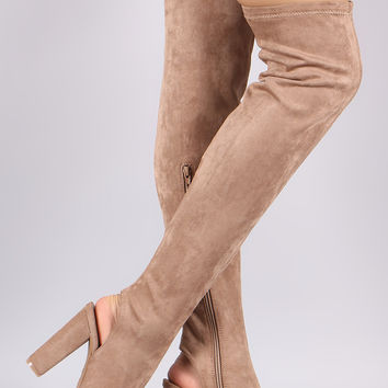 Bamboo Stretchy Fitted Over-The-Knee Open Back Suede Boots