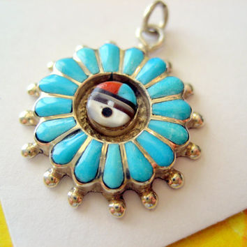 Zuni Sterling Inlay Sunface Charm by sparklinglotusdesign on Etsy