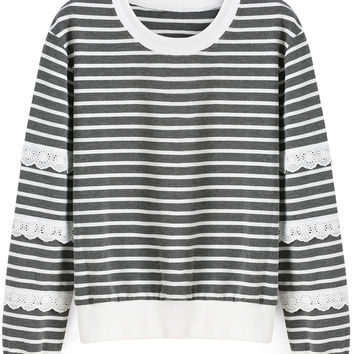 Grey White Striped Lace Embroidered Long Sleeve Sweatshirt