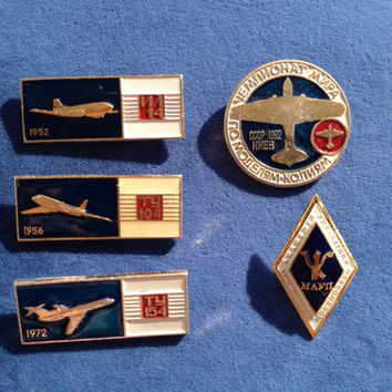 Set of 5 Soviet vintage AIRCRAFT pin ussr collectibles collector TY-154