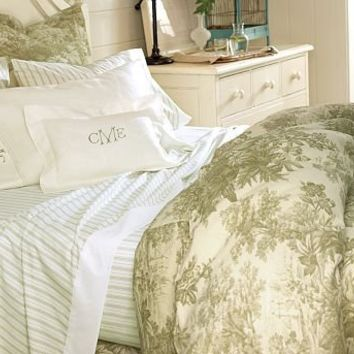 Matine Toile Duvet Cover Sham Sprout Green Pottery Barn