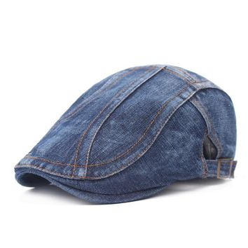 Denim Jean Irish Men Flat Caps Hat Newsboy Newsy Cap