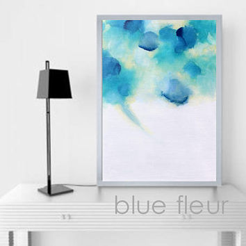 BLUE FLEUR Expressive Modern Original Abstract Art Painting Stretched Canvas Ready to Hang Free Shipping USA Blue Green Yellow Bright Colors