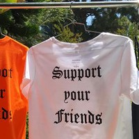 """""""Support your Friends"""" woman's loose fitting crop top with sleeves"""