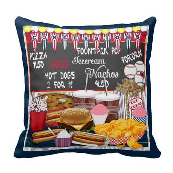 Concessions, Blue-Square Throw Pillow