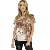 Brown Tyedie Color block T Shirt