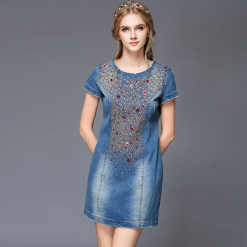 Blue Slit Fit Gem Beaded Short Sleeve Plus Size Women Denim Dress Party Dresses