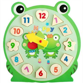 DCCKL72 3D Puzzle Wooden Toys Children's Educational Toy With Cartoon Pattern Digital Geometry Clock Baby Boy Girl Gift VBF76 T10 0.5