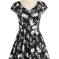 ModCloth Mid-length Cap Sleeves Fit & Flare Bookmaking Lunch Dress