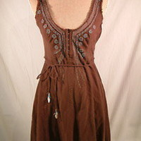 Free People Beaded Embroidered front tie waist dress Brown sz 6 BOHO hippie | eBay