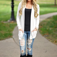 White Loose Large Size Thin Cardigan