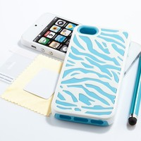 Pandamimi ULAK(TM) Deluxe Light Blue White Zebra Combo Hard Soft High Impact for Apple iPhone 5 5G Armor Case Skin Gel + Screen Protector + Stylus:Amazon:Cell Phones & Accessories