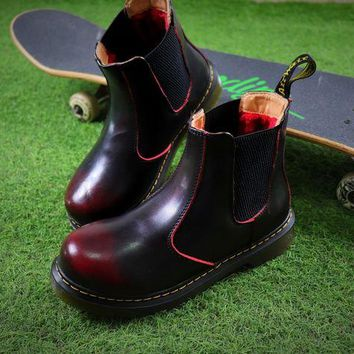 DCCKGV7 Best Online Sale Newest Dr. Martens Wine Chelsea Boots 2976 Cashmere Inner