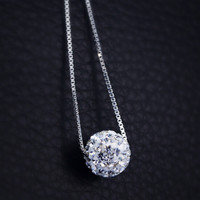 925 sterling silver tiny ball necklace ,simple ball necklace,a perfect gift