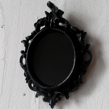 Black Scrying Mirror in Tiny Ornate Vintage Oval Frame