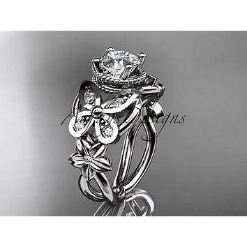Platinum diamond floral, butterfly engagement ring  ADLR136