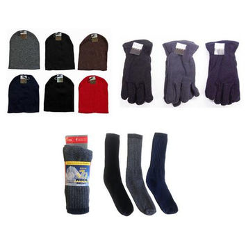 Beanie Knit Hats, Men's Fleece Gloves, and Wool Bl