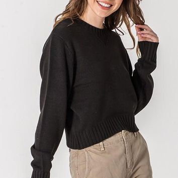 Campfire Cues Cropped Sweater - Black
