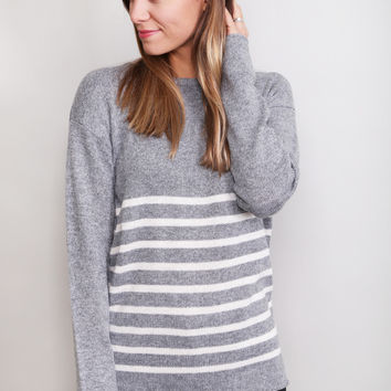 Side Striped Sweater {Gray}