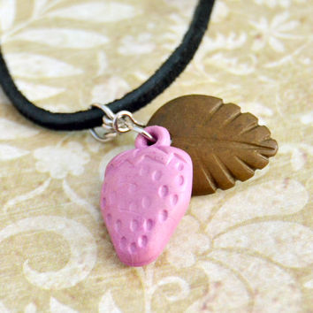 Pink Strawberry, Green Leaf, Black Suede Choker Bead Necklace, Womens Teen Girls Kids Fruit Food Spring Summer Jewelry, Wife Girlfriend Gift
