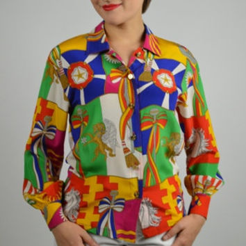 Vintage Blouse, Silk Blouse, Escada Blouse, 80s Fashions, Multi Colored Blouse, Button Down Blouse, Gold Buttons,  Size Extra Small