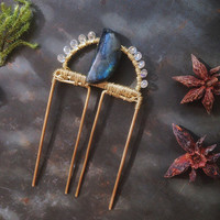 moon fairy crystal hair comb • labradorite crystal hair piece - metal hair comb - labradorite moon hair fork - moon witch