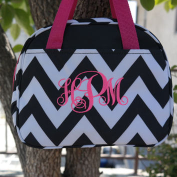 Black Chevron Lunch bag with Personalized Name or Monogram