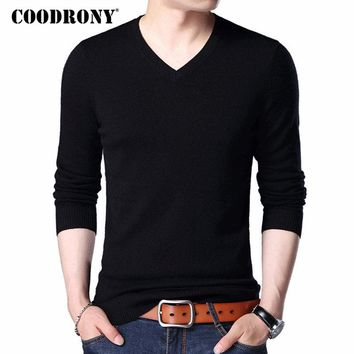 COODRONY Merino Wool Sweater Men Casual Classic V-Neck Pull Homme 2017 Winter New Arrival Men's Pullover Sweaters Multicolor 309