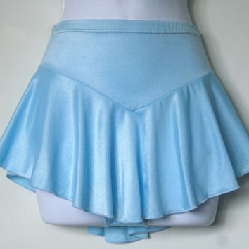 Delicate Light Blue Figure Skating Skirt, ONE Girls Extra Small & ONE Girls Large, Attached Brief, Hair Tie Included, Baton, Dance