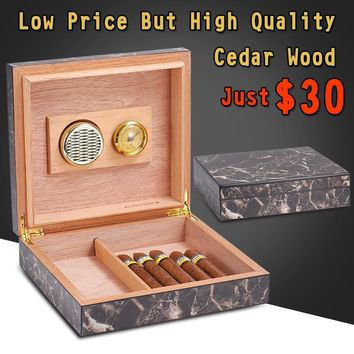CUBANACAN COHIBA Cedar Wood Cigar Humidor High Quality Marbling Finish Travel Cigar Box W/ Humidifier Hygrometer Holds 30 Cigars