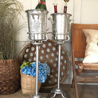 Ice Bucket with Stand, French Wine Bottle Cooler, Silver Champagne Bucket, Everlast Handwrought Aluminum Wine Chiller