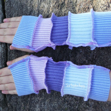 Kids Arm Warmers Fingerless Gloves for Kids Upcycled from Recycled Sweaters Eco friendly Cotton Reduce Reuse Recycled