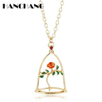 Beauty and the Beast Monster Glass Rose Flower Pendants Necklaces Women Female Sweet Choker Necklace