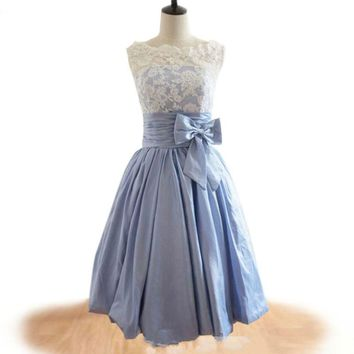 Light Blue Bridesmaid Dresses lace short  mini bridesmaid dress