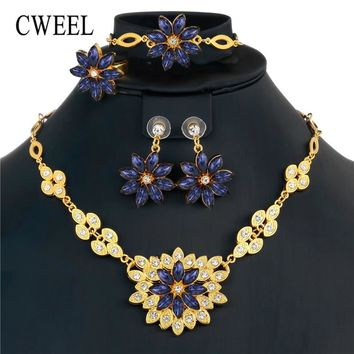 CWEEL Jewelry Sets For Women African Beads Jewelry Set Indian Ethnic Bridal Imitation Crystal Gold Color Jewellery Set