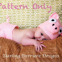 Pig Hat And Diaper Cover Crochet Pa.. on Luulla