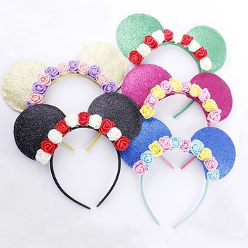 2017 New Cute Mickey Ears Flowers Hairband Headband Hoop for Girls Adult Hair Ornaments Headwear Fashion Women Hair Accessories