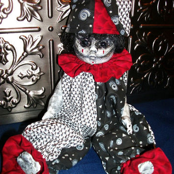 Lonesome Tears OOAK Altered Art Horror Gothic Monster Scary Salvage Repurposed Prop Doll :)